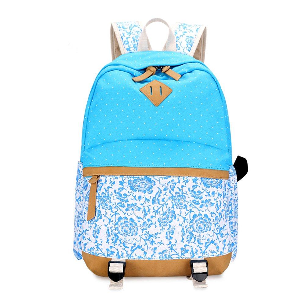Umily Mochilas Escolares Mujer Backpack Mochila Escolar Lona Grande Unisexo Bolsa Casual Juvenil Chica-Flor azul cielo: Amazon.es: Equipaje