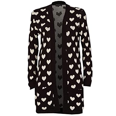 dfe18eb0d0f Rimi Hanger Womens Long Sleeve Chunky Knitted Heart Print Cardigan ...