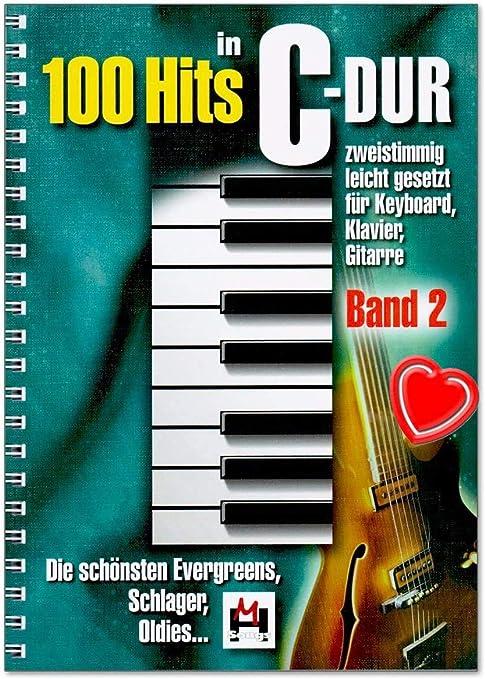 Evergreens, Schlager, Oldies - Juego de 100 éxitos en C-Dur Band 2 - Con pinza para partituras en forma de corazón