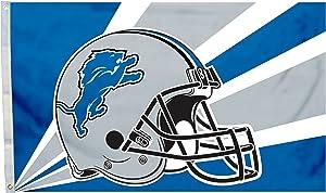 Fremont Die NFL Detroit Lions 3' x 5' Flag with Grommets, 3 x 5-Foot, Helmet