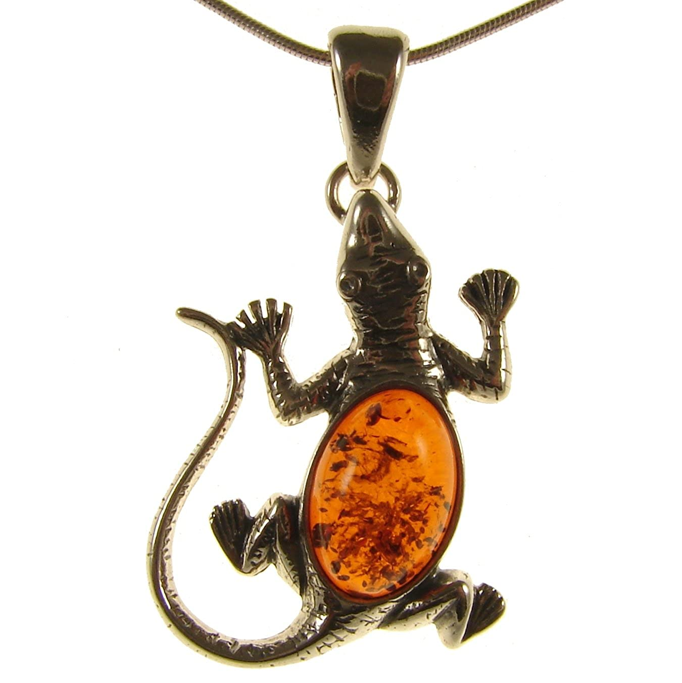 BALTIC AMBER AND STERLING SILVER 925 LIZARD PENDANT NECKLACE 14 16 18 20 22 24 26 28 30 32 34 1mm ITALIAN SNAKE CHAIN