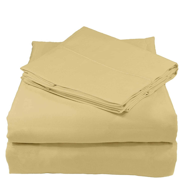 Whisper Organics 100% Organic Cotton Bed Sheet Set, 300 Thread Count - GOTS Certified (King, Sand)