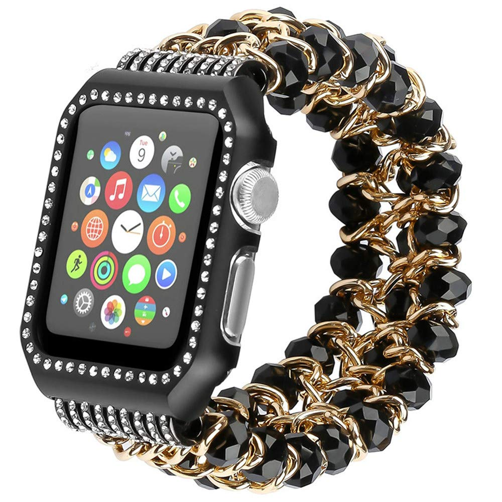 For Apple watch band crystal strap for Apple watch with Iwatch new hand made watchband black 38mm