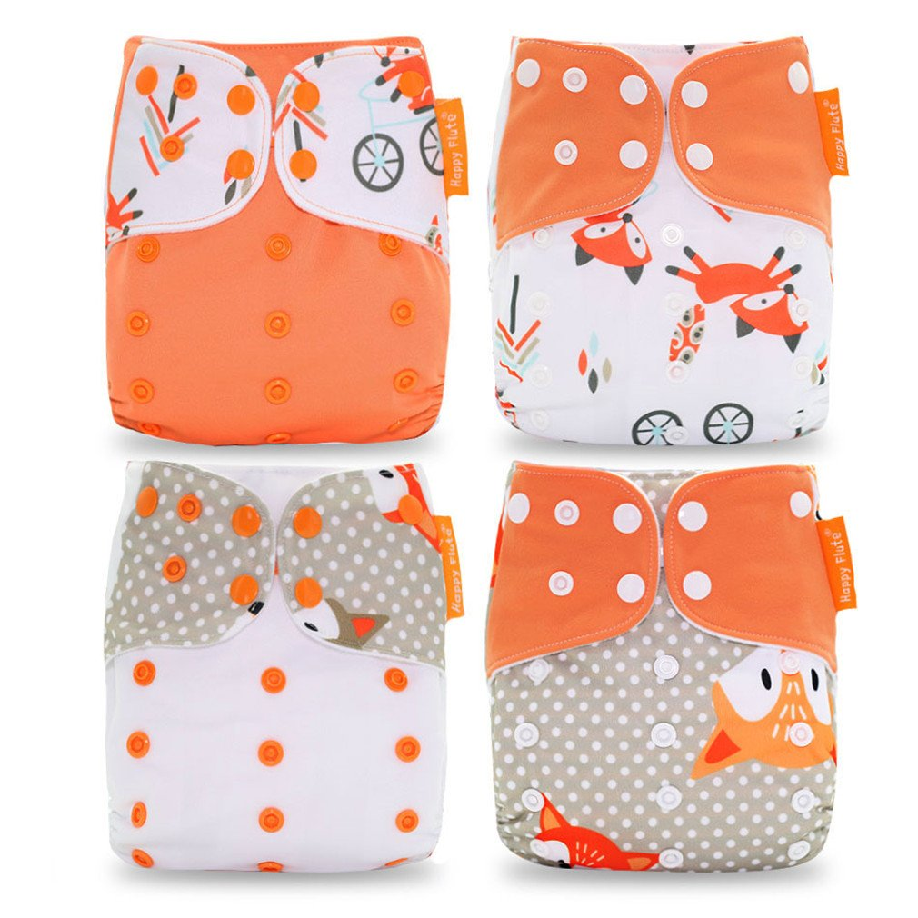 Pocket Diaper 4Pcs/Set Washable &Reusable Baby Nappy Adjustable Baby Nappy Cover