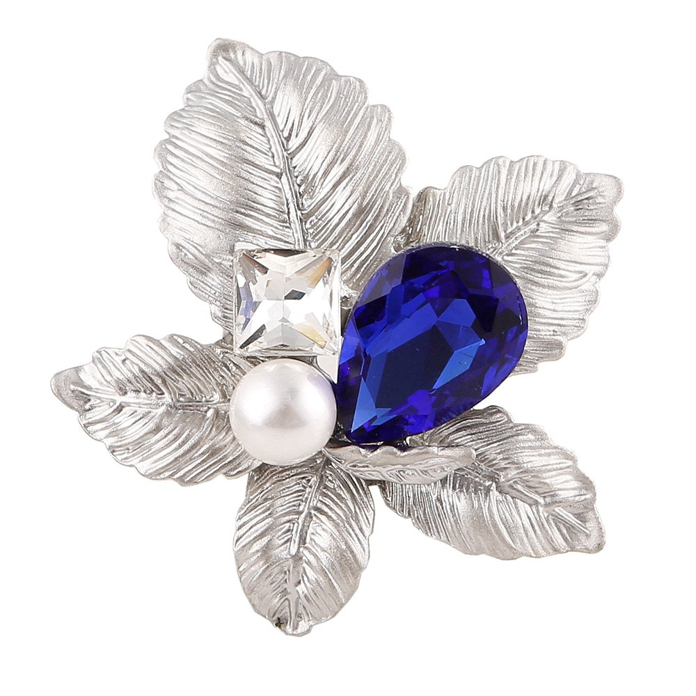 MUZHE Vintaqe Leaf Blue Rhinestone Brooch Pin Wedding Party Banquet Jewelry