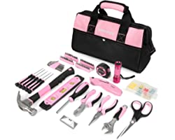 WORKPRO Pink Tool Kit, 106-Piece Lady's Home Repairing Tool Set with Wide Mouth Open Storage Bag - Pink Ribbon