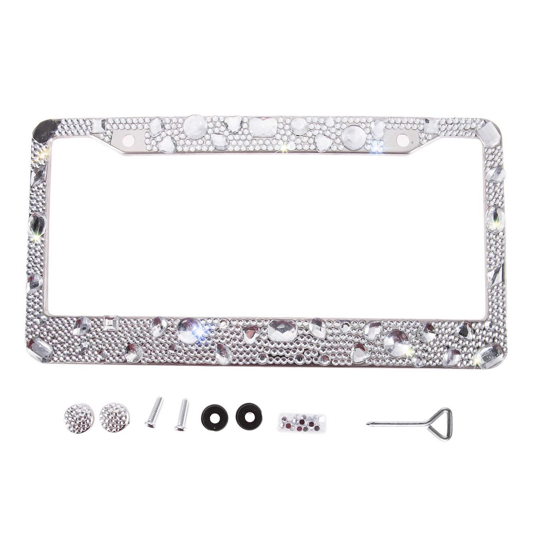 Handmade Waterproof Raindrop Shape Stone Bling Crystal License Plate Frame Cute Rhinestone License Plate Holder for Lady