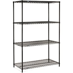 "Nexel Adjustable Wire Shelving Unit, 4 Tier, NSF Listed Commercial Storage Rack, 18"" x 30"" x 63"", Black Epoxy"