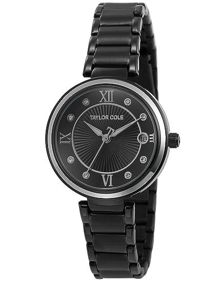 Taylor Cole Reloj Mujer de Moda, Acero Inoxidable Analógico Cuarzo Reloj Oro Nergo TC069