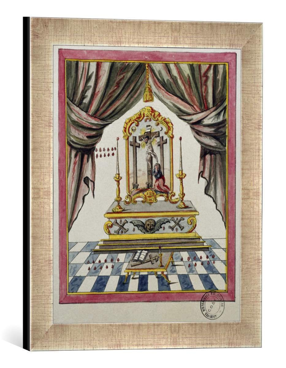 Gerahmtes Bild von 18. Jahrhundert Freimaurer: Christus am Kreuz / 18.Jh, Kunstdruck im hochwertigen handgefertigten Bilder-Rahmen, 30x40 cm, Silber Raya