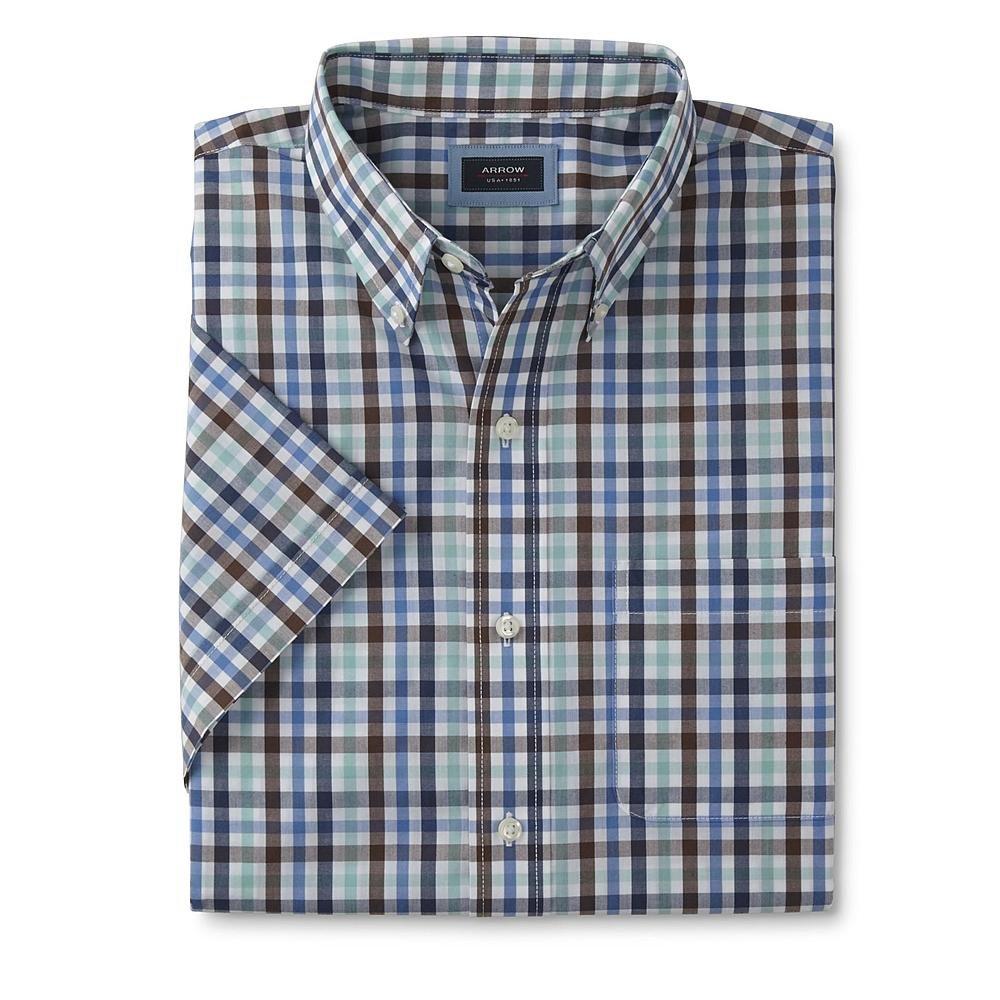 Large Arrow Mens Wrinkle Free Hamilton Plaid Short Sleeve Shirt