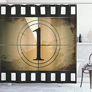 Ambesonne Movie Theater Shower Curtain, Grunge Countdown Frame with Number in a Circle Film Strip, Cloth Fabric Bathroom Decor Set with Hooks, 70