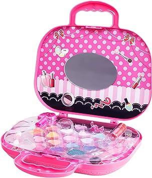Kit de juguetes de maquillaje para niños lavables no tóxicos princesa cosmético set con un caso