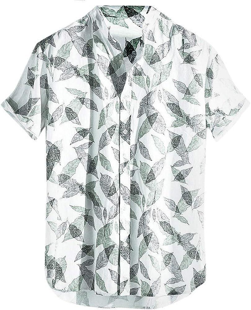 SoonerQuicker Camisa Tops T Shirt 2019 New Moda para Hombre Impresa Hawaiana Suelta de Manga Corta Botones Camiseta botón impresión Estilo japonés Hawaiano Blusa Casual(Blanco/XL): Amazon.es: Ropa y accesorios