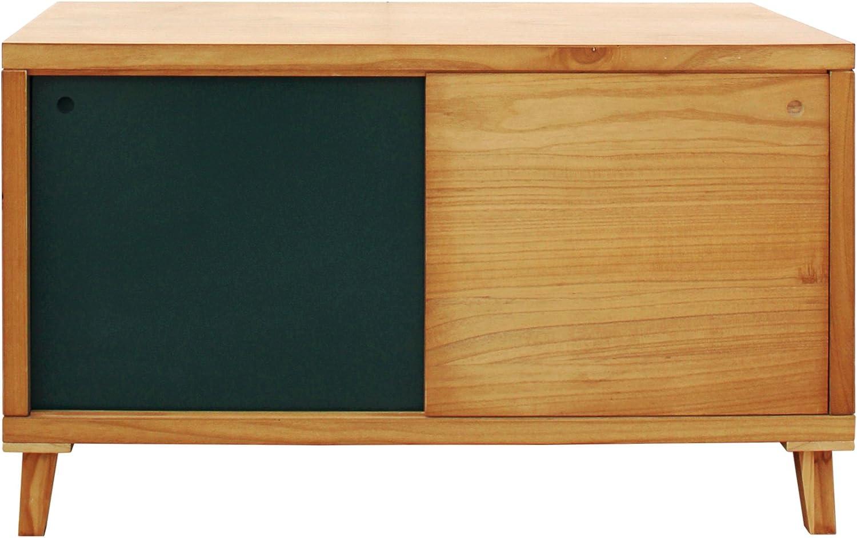 Mobili Rebecca® Aparador para TV Mueble Bajo 2 Puerta Corredera Madera Marrón Verde Salón Pasillo Decoración Moderno (Cod. RE6057)