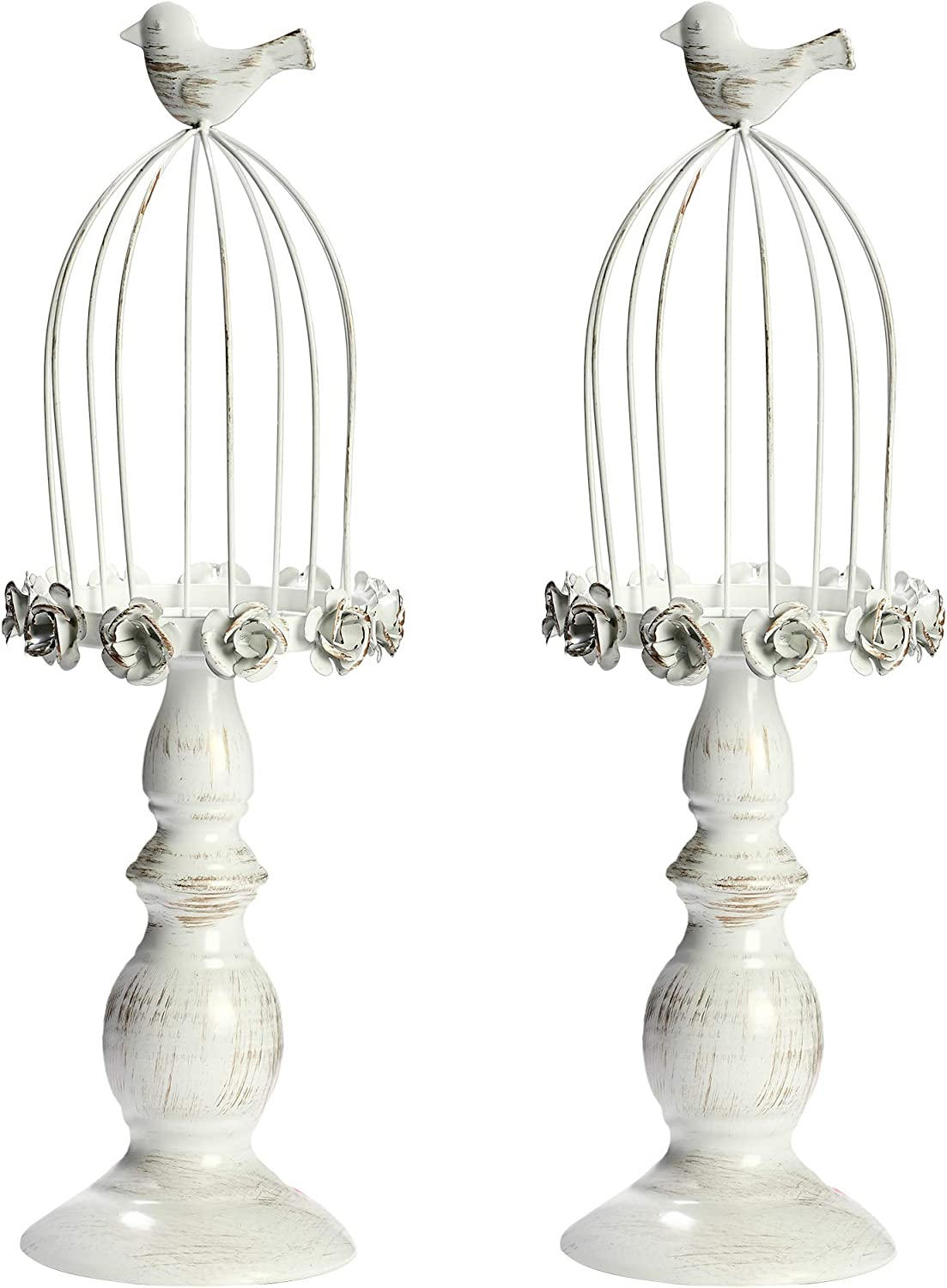 Troudipity Pillar Candle Holder Set, 2 Pieces Vintage Metal Candleholder with Bird Cage Top, Ideal for Home Decorations and Gifts
