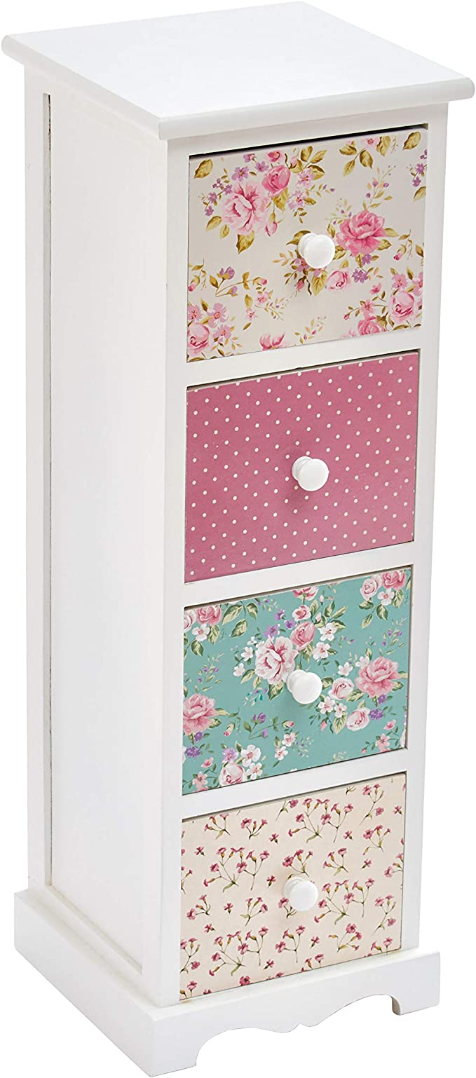 Rose /& Polka Dot Pattern Cherry Tree Furniture CANTERBURY Wooden 2-Drawer Bedside Table Nightstand