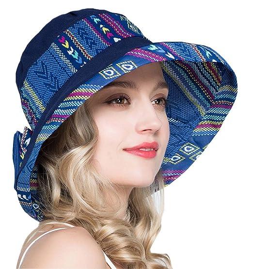 7bbc29bc470 OLEWELL Women s Summer Sun Beach Floppy Hat UPF 50+ Foldable Wide Brim Cap  Fabric Blue