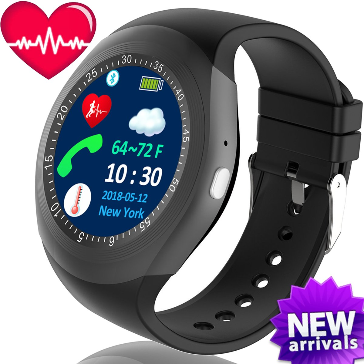 TurnMeOn - Reloj inteligente con monitor de presión arterial y frecuencia cardíaca para hombres, mujeres, niños, actividades al aire libre, deporte, ...