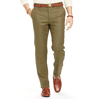authorized site 2020 cost charm POLO Ralph Lauren Men's SLIM FIT LINEN DRESS TROUSER (Olive ...