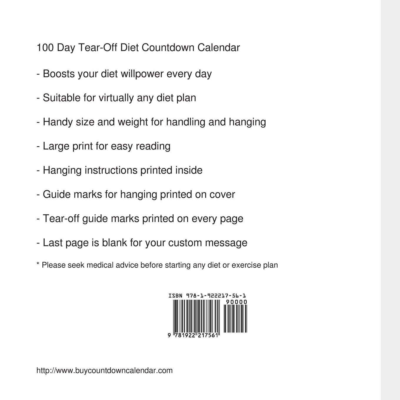 amazon com 100 day tear off diet countdown calendar 9781922217561