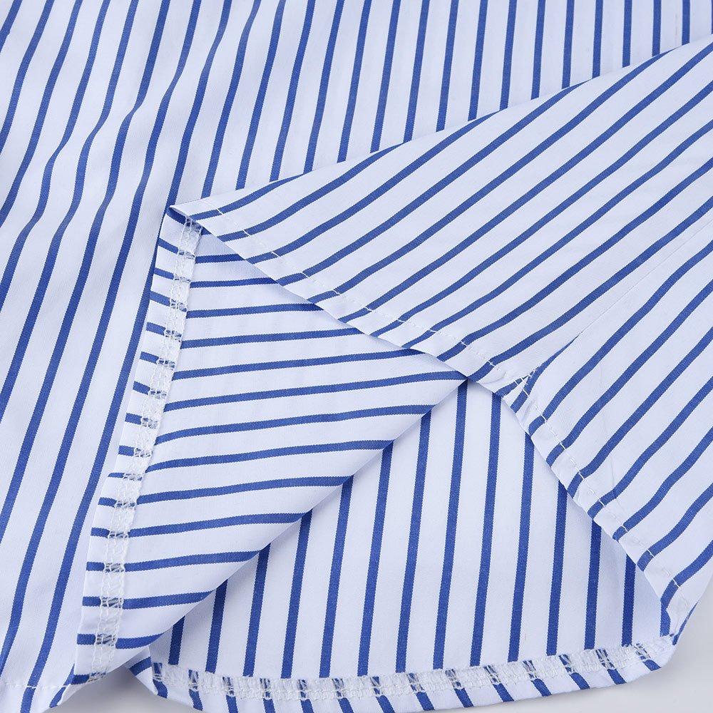 HHei_K Womens Sexy 3/4 Cropped Sleeve Turn-Down Collar Stripe Printed Pocket Button Closed Mini Shirt Dress by HHei_K (Image #6)