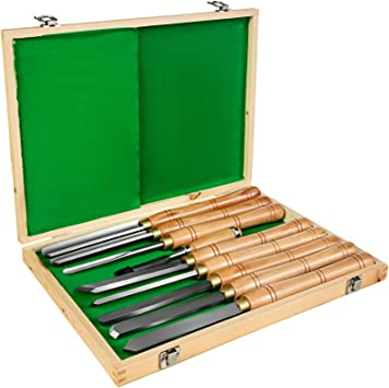 Wood Turning Chisels 8 Piece Long Handles Lathe HSS Steel Blade