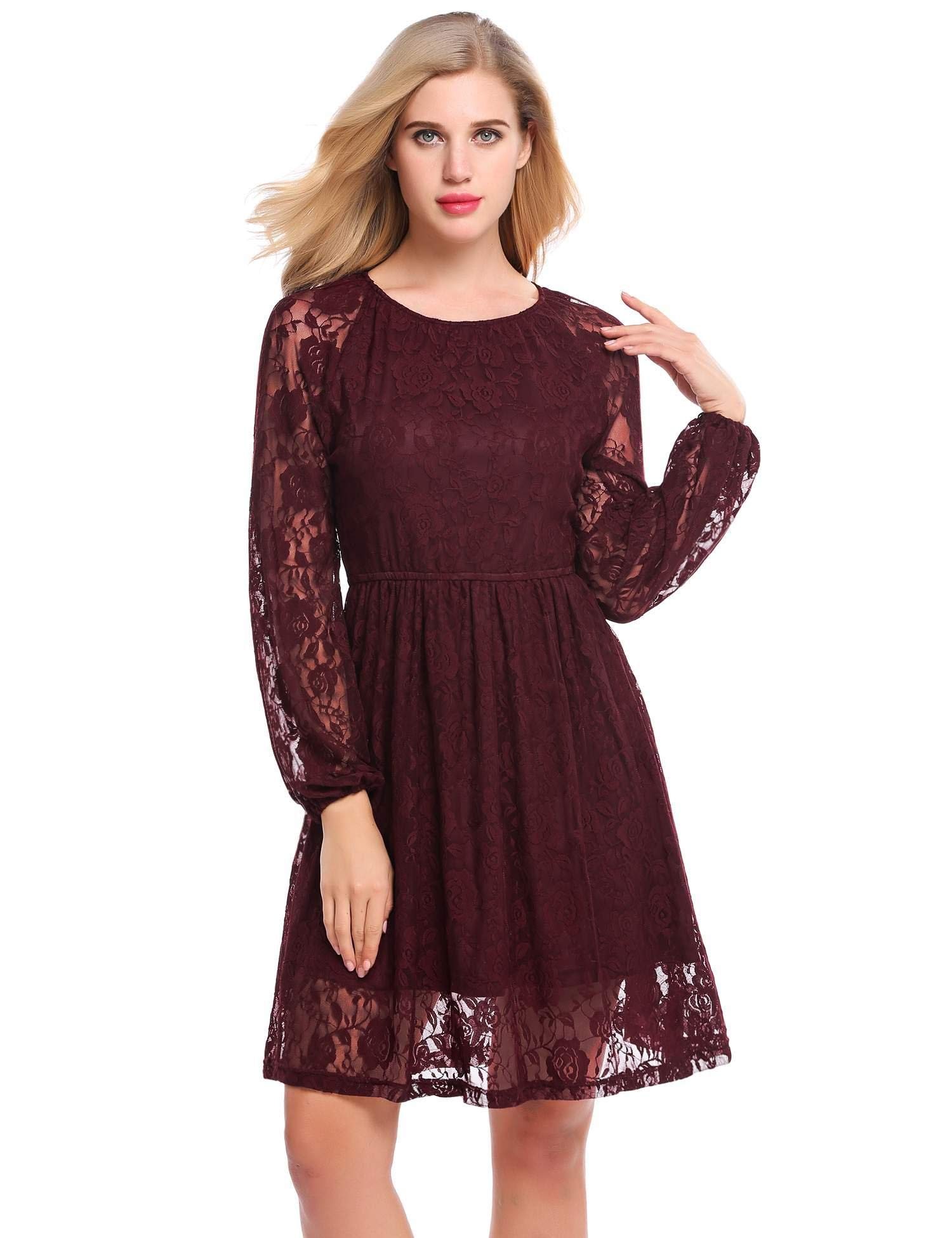 Meaneor Women's Floral Lace Long Sleeve A-Line Cocktail Party Dress