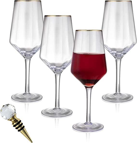 Amazon Com 24k Gold Rimmed 15 5 Oz Wine Glasses Set Of 4 Crystal White Red Wine Glasses Gold Plated Wine Bottle Stopper Handmade Lead Free Optic Wine Glass For Entertaining