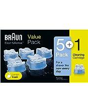Braun Clean&Renew - Pack de 5+1 cartuchos de recarga de líquido limpiador para sistema Clean&Renew, estación de limpieza Clean&Charge