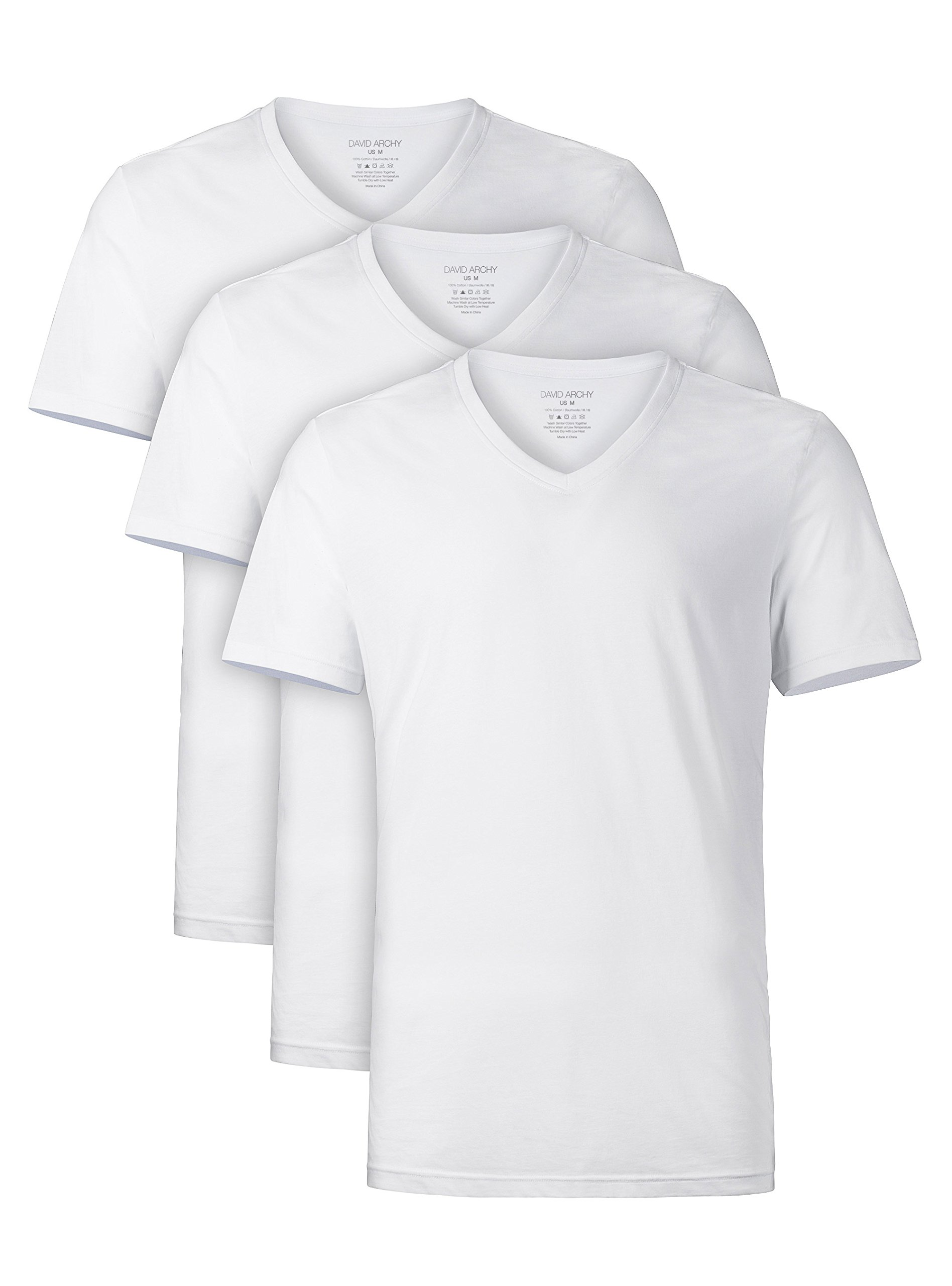 David Archy Men's Short Sleeve V-Neck Cotton Undershirts T-Shirts 3 Pack (L, White)