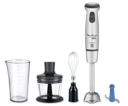 Moulinex Infiny Force Ultimate Cocktail DD87KD10 Batidora de mano con accesorios, 1000 W, 800 Ml, Acero Inoxidable, 25 Velocidades, Plateado