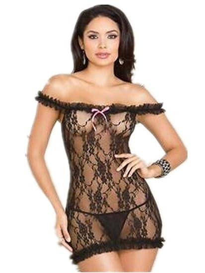 Boowhol-Ropa interior Sexy Pijamas ConjuntoSexy Plisado sin Tirantes de Encaje de Mujer Vestido con