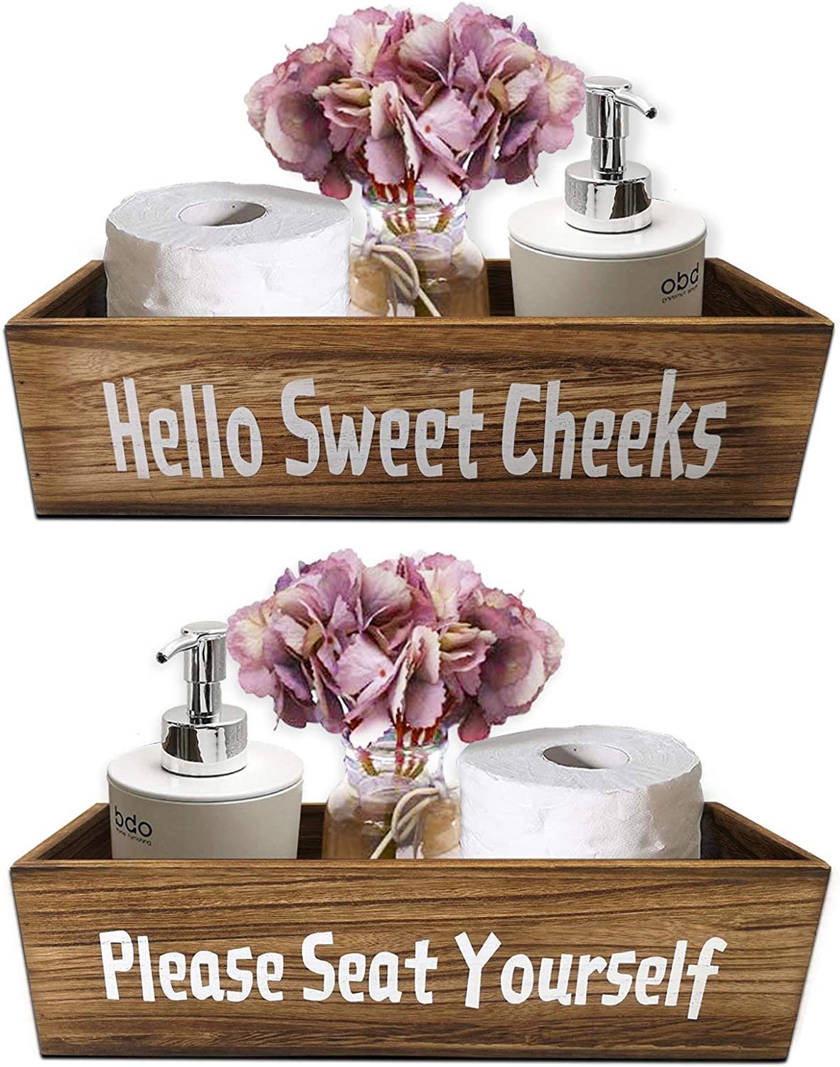 BESCRCL Funny Bathroom Box 2 Packs, Farmhouse Rustic Wooden Toilet Paper Holder, Storage Home Room Decor for Bathroom