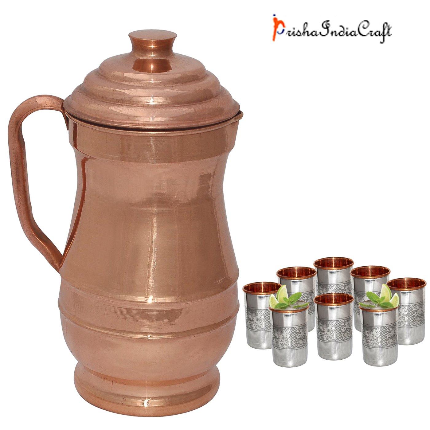 Prisha India Craft Pure Copper Jug ( MAHARAJA JUG 1900 ML / 64.25 oz ) with Eight (8) Glass Drinkware Set - Handmade Water Glasses - Traveller's Copper Cup for Ayurveda Benefits