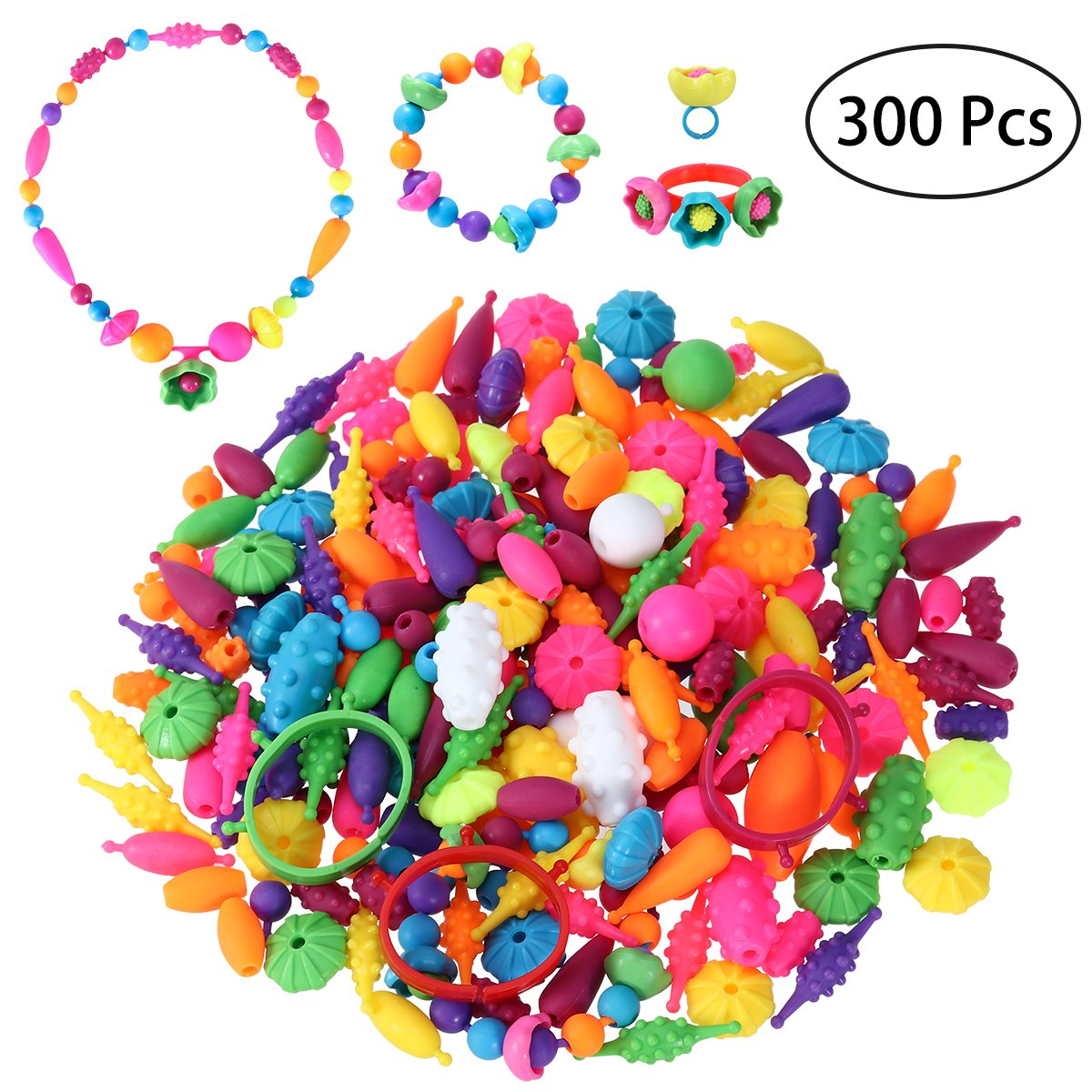 TOYMYTOY 300Pcs Pop Snap Beads Set Creative DIY Necklace Bracelet Jewelry Making Kit for Girls Art Crafts Educational Toys Gifts