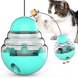 Cat Slow Feeder Ball,Leakage Food Ball Toys,Tumbler Toy Ball Kitten Treat Toys, Pet Feeding Toy (Lake Blue)