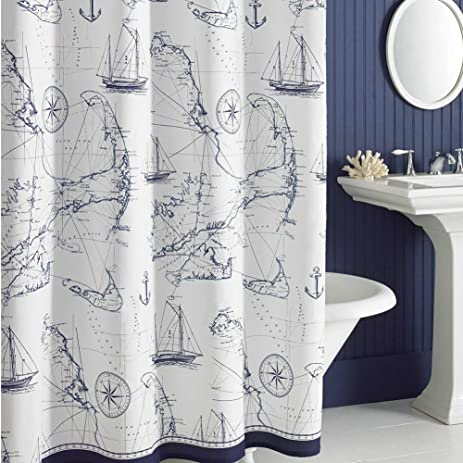 DS BATH Aviation Nautical Shower Curtains,Mildew Resistant Fabric Shower  Curtain,Navy Shower Curtains