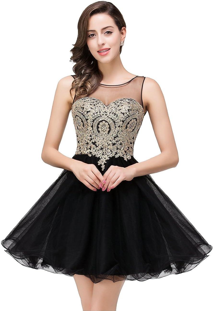 MisShow 2020 Women's Cocktail Dresses Crystals Applique Short Prom Dresses