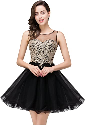 Crystals Applique Short Prom Dresses