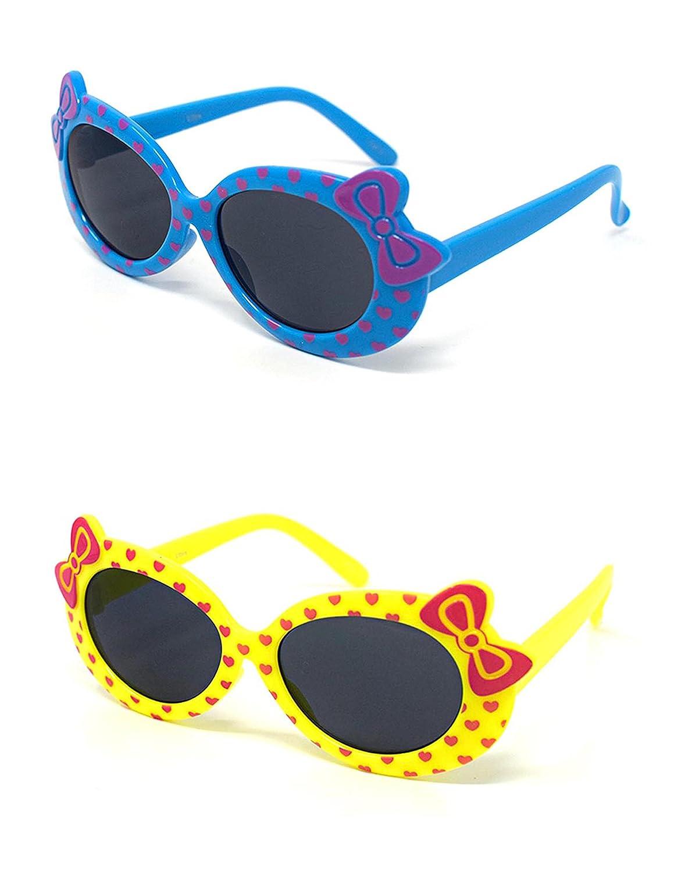 1 x azul 1 amarillo niños niñas niños estilo lindo diseñador gafas de sol de alta calidad con un arco y el corazón estilo gafas de sol UV400 sombras UVA UVB protección