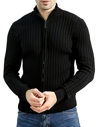 e89792f3498 Jenkoon Men Slim Fit Zip-Up Sweater Casual Knitted Cardigans Jacket ...