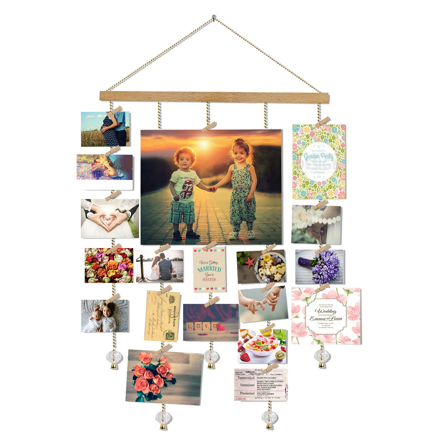 O-KIS Photo Display, Picture Frame Collage by Multi Photo Display with 20 Clips, Aged Walnut Wood, Golden Chain with Crystal Pendant,16×29 inch 16×29 inch