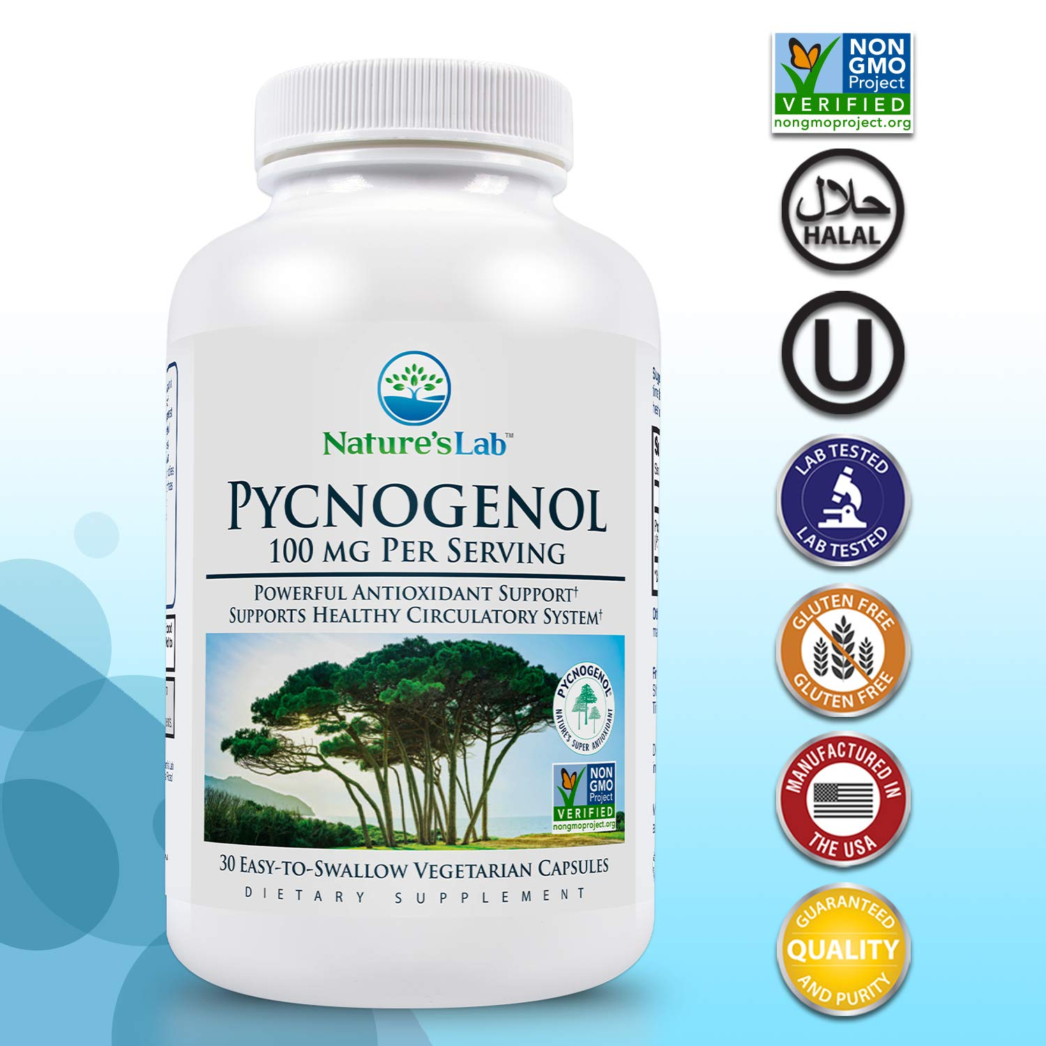 Nature's Lab Pycnogenol 100mg - 30 Capsules (1 Month Supply) for Circulation Blood Pressure Joint & Skin Health by Nature's Lab