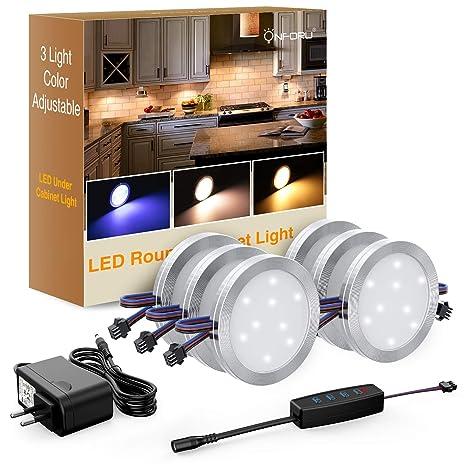 Onforu 6pcs Lampe De Placard 12w Uv Blanc Chaud Froid 1080lm Spot Led Sous Meuble Reglable 10 Niveaux Luminosite Avec Interrupteur 12v Pour Cuisine