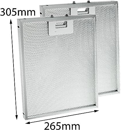 Spares2go aluminio grasa malla filtro para campana de cocina Indesit ventilador rejilla de ventilación (305 x 265 mm, pack de 1 o 2) 2 Filters: Amazon.es: Hogar