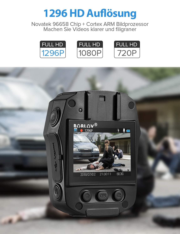 BOBLOV HD 1296P K/örper Kamera 32GB Polizei K/örper Getragen Video Kamera Sicherheit IR Nachtsicht Cam 32MP Video PD50 32GB
