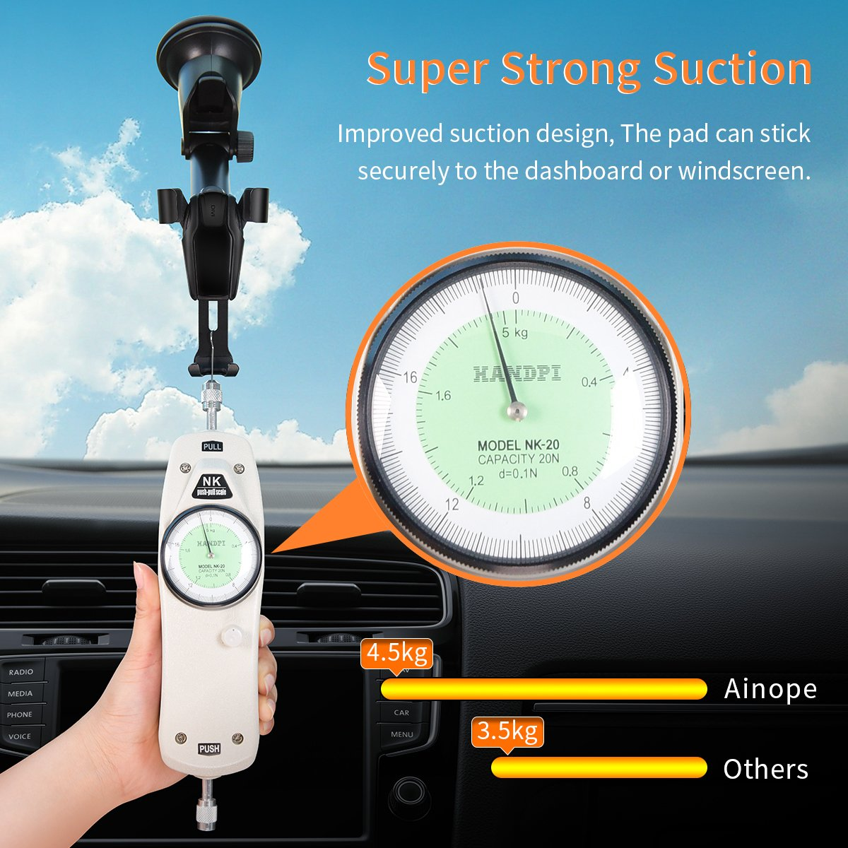 Cell Phone Holder Car, Universal Dashboard Cell Phone Holder Gravity Auto-Clamping Car Cradle Mount Adjustable Car Holder Phone X/ 8/7/ 6s/ Plus, Galaxy S9/ S8/ S7 Edge - Ainope by Ainope (Image #2)