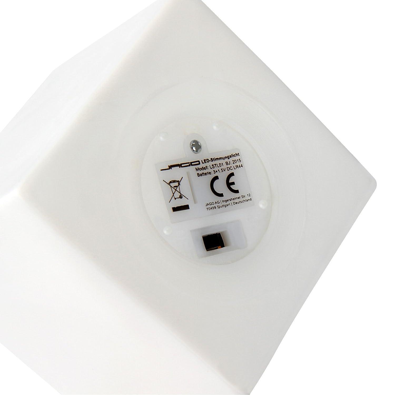 Jago - Pequeña lámpara LED ambiental blanca en forma de cubo (alternancia de 7 colores o un color único) - aprox. 6,8/6,8/6,8 cm: Amazon.es: Iluminación
