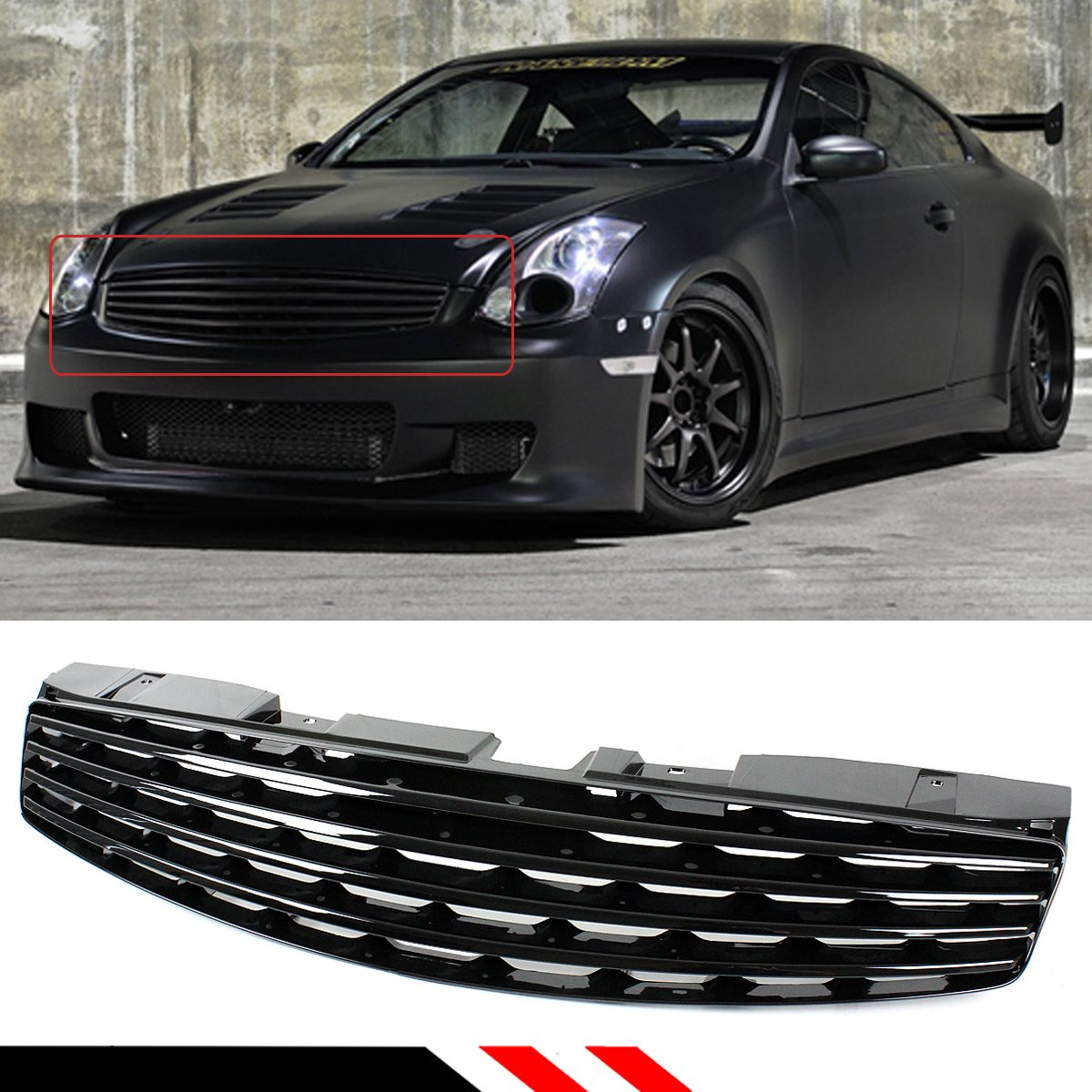 Best deals on g35 coupe grill superoffers for 2003 2007 infiniti g35 2 door coupe glossy black vip horizontal front bumper grill vanachro Choice Image